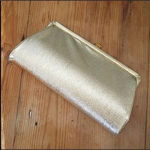 Vintage Gold Foil Vinyl Clutch Purse Handbag